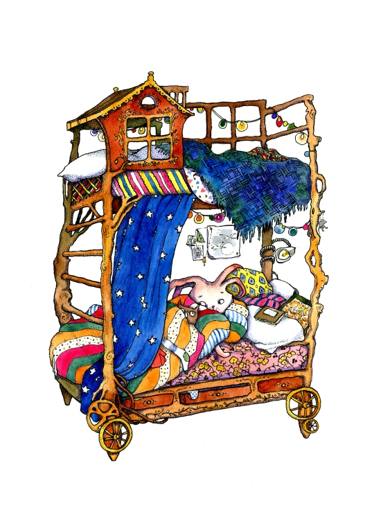 Pointillism ink and watercolor childrens book illustration of a ornate bunk bed collection by russian artist Yelizaveta Bakhtina in Olympia WA. Interior design, art collector, bunk bed, stuffed animals, wooden, artisan, crafted, illustrator, russian art.