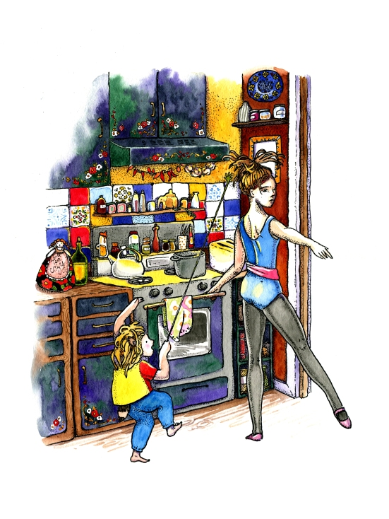 Pointillism ink and watercolor childrens book illustration of children in the kitchen by russian artist Yelizaveta Bakhtina in Olympia WA. Interior design, art collector, kitchen, spices, ballet routine, silly string, angry bird, cupboards, decor, ornament, cozy, illustrator, russian art.