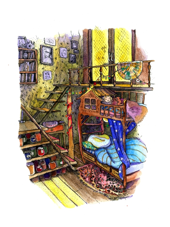 Pointillism ink and watercolor childrens book illustration of a night time cozy bunkbed bedroom under the stairs by russian artist Yelizaveta Bakhtina in Olympia WA. Interior design, art collector, rug, light behind door, pogrebok, storage room, jam, pickling, illustrator, russian art.