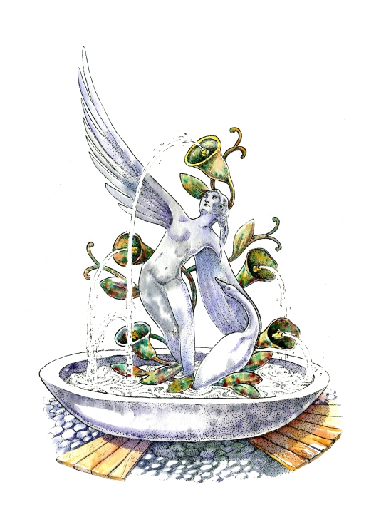 Pointillism, ink and watercolor children's book illustration of a marble and iron fountain statue of a goose and a being with wings from another realm by russian artist Yelizaveta Bakhtina in Olympia WA. Minority artist, ethnic art, diversity, diverse art, interior design, art collector, new art, emerging artist, marble statue, angel, goose, illustrator, russian art.