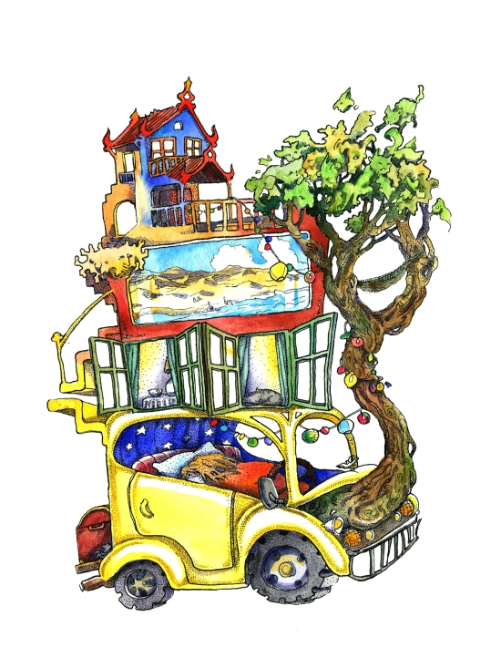 Pointillism, ink and watercolor children's book illustration of a volkvagen beetle, yellow beetle, magic bunk bed, tiny house, illustration, road trip, tree, child asleep in a car, lanterns, animals hidden in tree leaves, foliage, japanese roof by russian artist Yelizaveta Bakhtina in Olympia WA. Minority artist, ethnic art, diversity, diverse art, interior design, art collector, new art, emerging artist, illustrator, russian art.