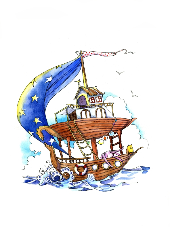 Pointillism ink and watercolor fine art illustration of a ornate wooden ship on sea with a blue sail with stars and stuffed animals, waves and tiny house by Russian artist in Olympia WA Yelizaveta Bakhtina. From her children's book The Magic Traveling Bunk Bed. An illustrated diverse, ethnic, minority character tale, fable, new art, emerging artist, design, decor, illustrator, russian art, art book.