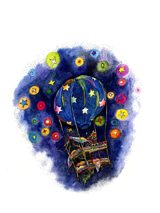 Pointillism, ink and watercolor children's book illustration of a hot air balloon in a starry night with a bunk bed, blankets and hedgehog lit up by colorful stars by russian artist Yelizaveta Bakhtina in Olympia WA. From her book The Magic Traveling Bunk Bed, an ethnically diverse character children's book art, diversity, diverse art, interior design, art collector, new art, emerging artist, illustrator, russian art. Prints for sale in Olympia, Seattle, fine art.
